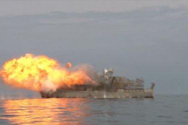 150615 - SK - KIM JONG UN - Marschall KIM JONG UN wohnte einer Übung zum Start der neuen Seezielraketen bei - 05 - 조선인민군 최고사령관 김정은동지께서 조선인민군 해군부대들에 실전배비되는 신형반함선로케트발사훈련을 보시였다