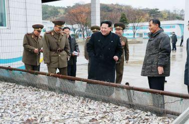151123 - 조선의 오늘 - KIM JONG UN - Marschall KIM JONG UN besichtigte den Fischereibetrieb '25. August' der 313. Truppe der KVA - 01 - 경애하는 김정은동지께서 사회주의바다향기 차넘치는 조선인민군 제313군부대관하 8월25일수산사업소를 현지지도하시였다