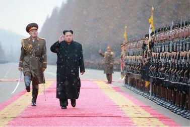 160110 - 조선의 오늘 - KIM JONG UN - Marschall KIM JONG UN hielt im Ministerium für Volksstreitkräfte eine programmatische Rede - 01 - 경애하는 김정은동지께서 새해에 즈음하여 인민무력부를 축하방문하시고 강령적인 연설을 하시였다