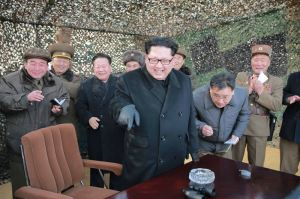 160304 - 조선의 오늘 - KIM JONG UN - 02 - 경애하는 김정은동지께서 신형대구경방사포시험사격을 지도하시였다