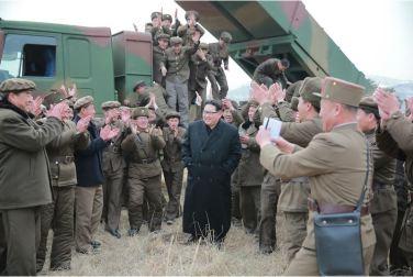 160304 - 조선의 오늘 - KIM JONG UN - 09 - 경애하는 김정은동지께서 신형대구경방사포시험사격을 지도하시였다