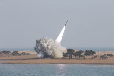 160304 - 조선의 오늘 - KIM JONG UN - 17 - 경애하는 김정은동지께서 신형대구경방사포시험사격을 지도하시였다