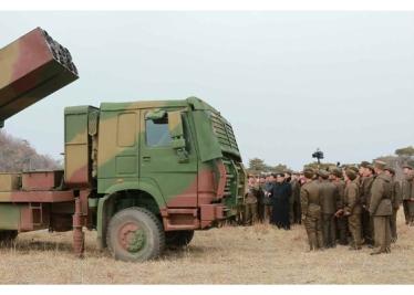160304 - RS - KIM JONG UN - 04 - 경애하는 김정은동지께서 신형대구경방사포시험사격을 지도하시였다