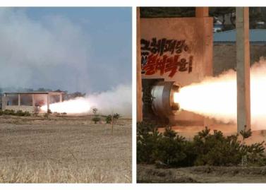 160324 - RS - KIM JONG UN - Marschall KIM JONG UN begutachtete einen Raketentriebwerktest - 02 - 경애하는 김정은동지께서 대출력고체로케트발동기지상분출 및 계단분리시험을 지도하시였다