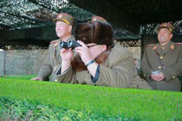 160325 - 조선의 오늘 - KIM JONG UN - Marschall KIM JONG UN leitete eine Ferngeschützfeuerübung der Fronttruppen der KVA - 07 - 경애하는 김정은동지께서 청와대와 서울시안의 반동통치기관들을 격멸소탕하기 위한 조선인민군 전선대련합부대 장거리포병대집중화력타격연습을 지도하시였다