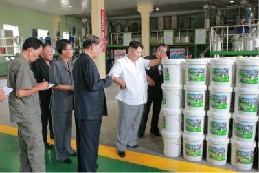160813 - 조선의 오늘 - KIM JONG UN - Genosse KIM JONG UN besichtigte die neuen Produktionsprozesse im Vereinigten Chemiewerk Sunchon - 05 - 경애하는 김정은동지께서 순천화학련합기업소에 새로 꾸린 아크릴계칠감생산공정을 돌아보시였다