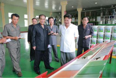160813 - 조선의 오늘 - KIM JONG UN - Genosse KIM JONG UN besichtigte die neuen Produktionsprozesse im Vereinigten Chemiewerk Sunchon - 06 - 경애하는 김정은동지께서 순천화학련합기업소에 새로 꾸린 아크릴계칠감생산공정을 돌아보시였다