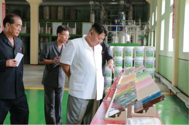 160813 - 조선의 오늘 - KIM JONG UN - Genosse KIM JONG UN besichtigte die neuen Produktionsprozesse im Vereinigten Chemiewerk Sunchon - 08 - 경애하는 김정은동지께서 순천화학련합기업소에 새로 꾸린 아크릴계칠감생산공정을 돌아보시였다