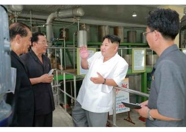160813 - RS - KIM JONG UN - Genosse KIM JONG UN besichtigte die neuen Produktionsprozesse im Vereinigten Chemiewerk Sunchon - 03 - 경애하는 김정은동지께서 순천화학련합기업소에 새로 꾸린 아크릴계칠감생산공정을 돌아보시였다